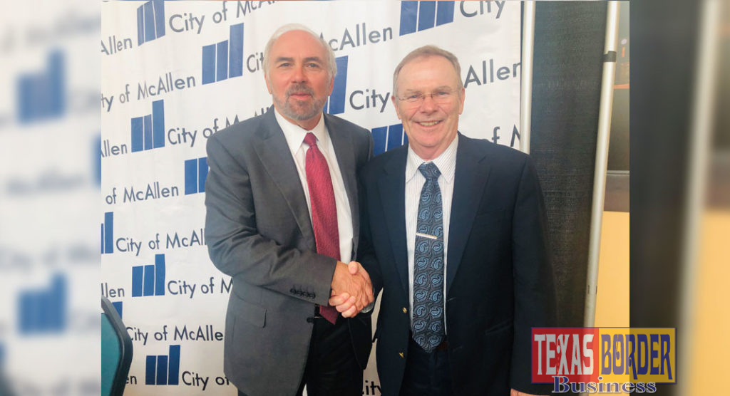 UTRGV President and 2019 Border Texan of the Year Dr. Guy Bailey is joined by City of McAllen Mayor Jim Darling immediately after today's announcement of his selection as the honoree.