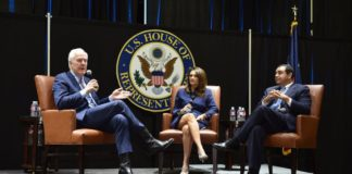 Panel Discussion with Federal Policymakers (l to r): U.S. Senator John Cornyn, Moderator Veronica Gonzales, VP of Government and Community Relations for UTRGV, and U.S. Congressman Henry Cuellar.