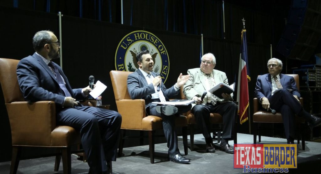 Panel Discussion with Local Perspectives (l to r): Moderator: Dr. Salvador Contreras; Luis Bazan, Pharr International Bridge; John Reed, Chairman Port of Brownsville; and Keith Patridge, McAllen EDC