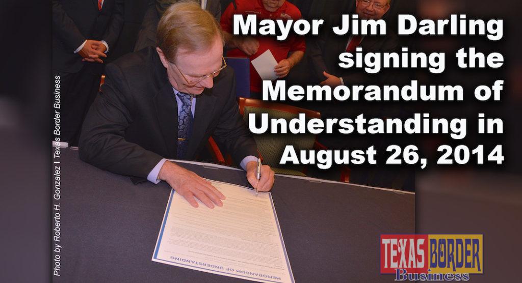 Flash back: Jim Darling signing the UTRGV Memorandum of Understanding on August 26, 2014. Photo by Roberto Hugo Gonzalez August 2014