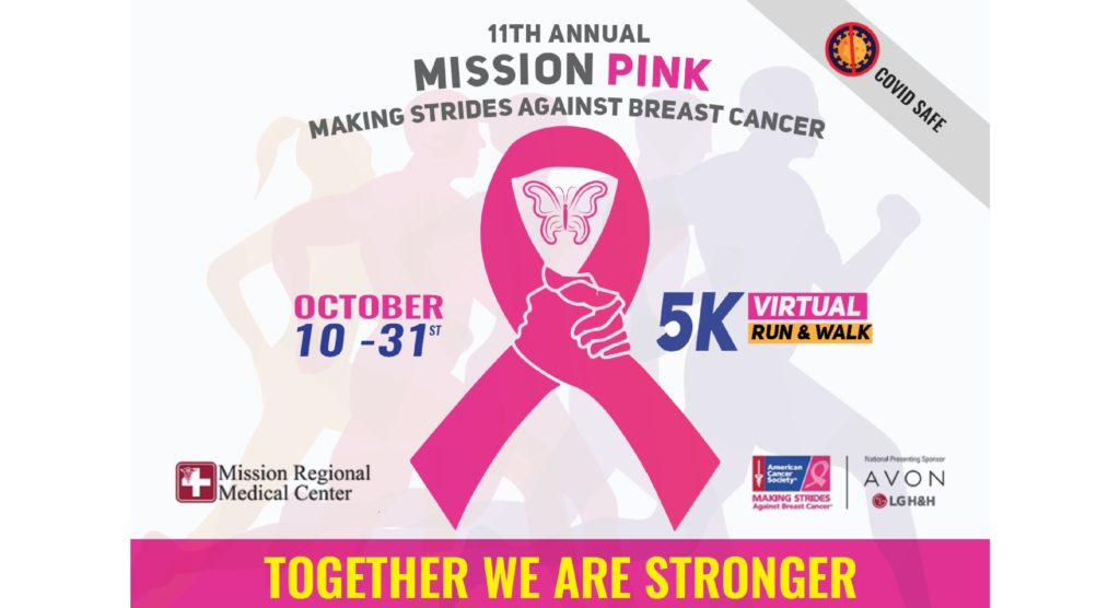 """11th Annual Mission Pink 5k Walk/Run Benefiting """"Making Strides Against Breast Cancer"""""""