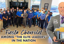 "Fiesta Chevrolet among ""The Elite Leaders"" in the nation. Billy Kelley, Fiesta Chevrolet general manager. Bob Vackar, principal for Bert Ogden RGV. Janet Vackar, also a principal of the company. Natasha Del Barrio, CEO of the Bert Ogden Rio Grande Valley."