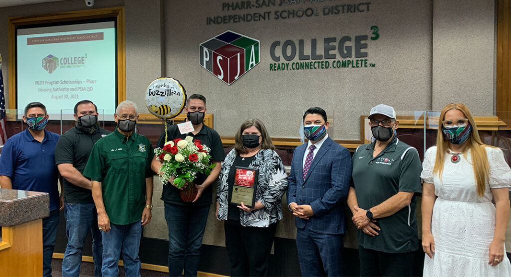 Janet Robles is congratulated by the PSJA ISD School Board as well as the PSJA Superintendent.PSJA ISD Image