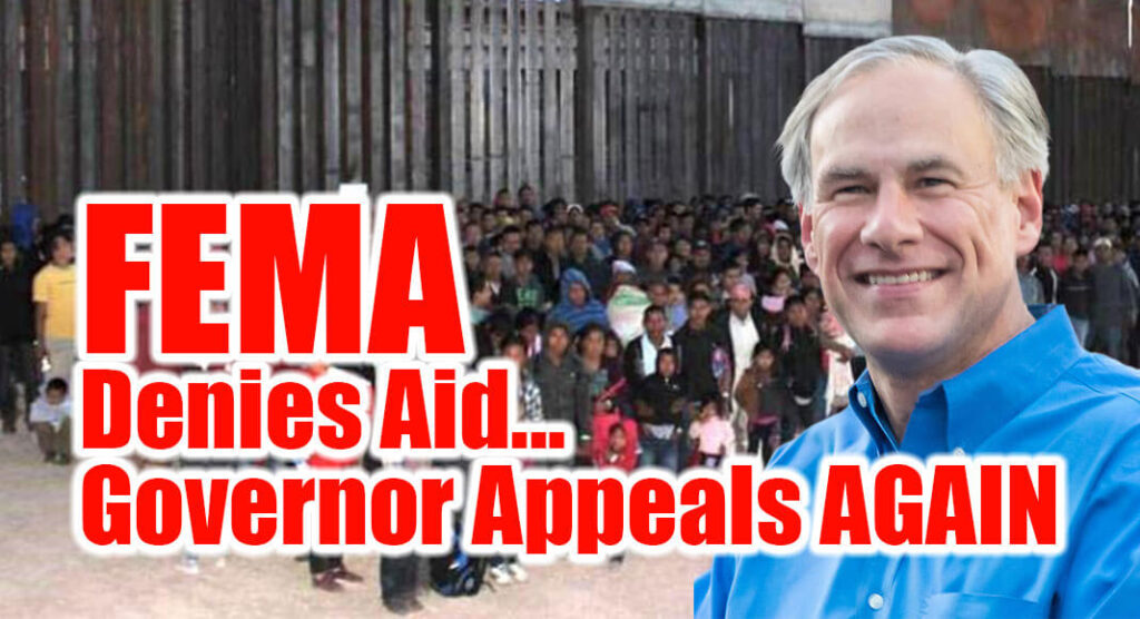 Governor Greg Abbott today senta letterto President Joe Biden formally requesting an appeal of the Federal Emergency Management Agency's (FEMA) denial of an emergency disaster declaration for the State of Texas as a result of the crisis at the Texas-Mexico Border. Governor Abbottinitially submitted this request on September 20. Image for illustration purposes.